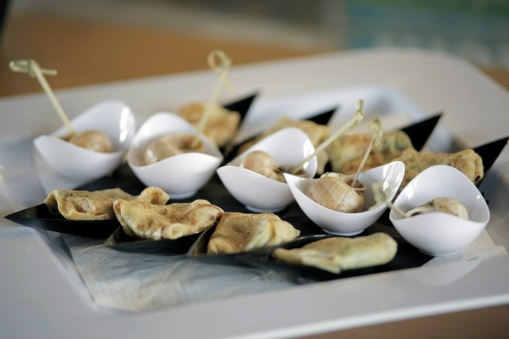 Escargot Canapés with toothpicks | Elegant Finger Food Catering Company Urban Escargot