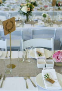 beautiful Wedding Catering setting with pink flowers