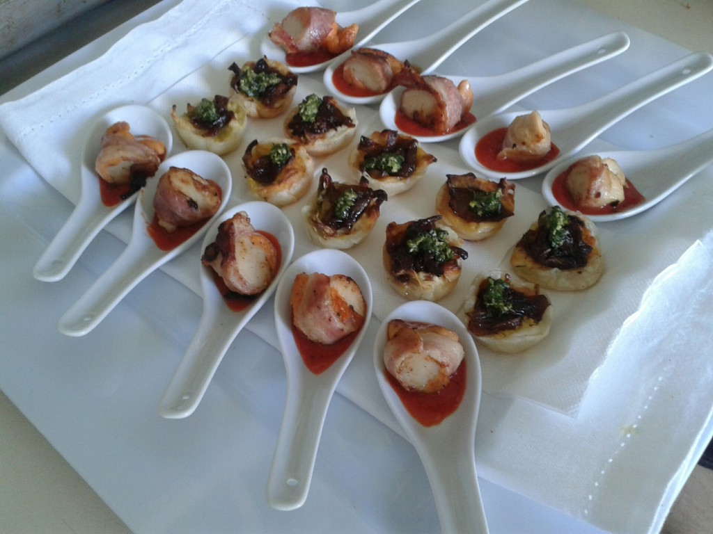 "Scallops and Crispy Bacon ""En Robe"", Capsicum Coulis Goat cheese and caramelised shallots tartlets"